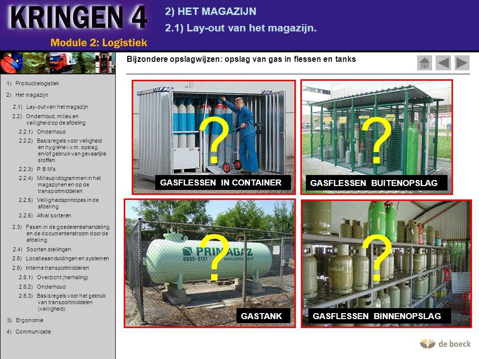 2) HET MAGAZIJN 2.1) Lay-out van het magazijn. Bijzondere opslagwijzen: opslag van gas in flessen en tanks GASTANK GASFLESSEN BINNENOPSLAG GASFLESSEN