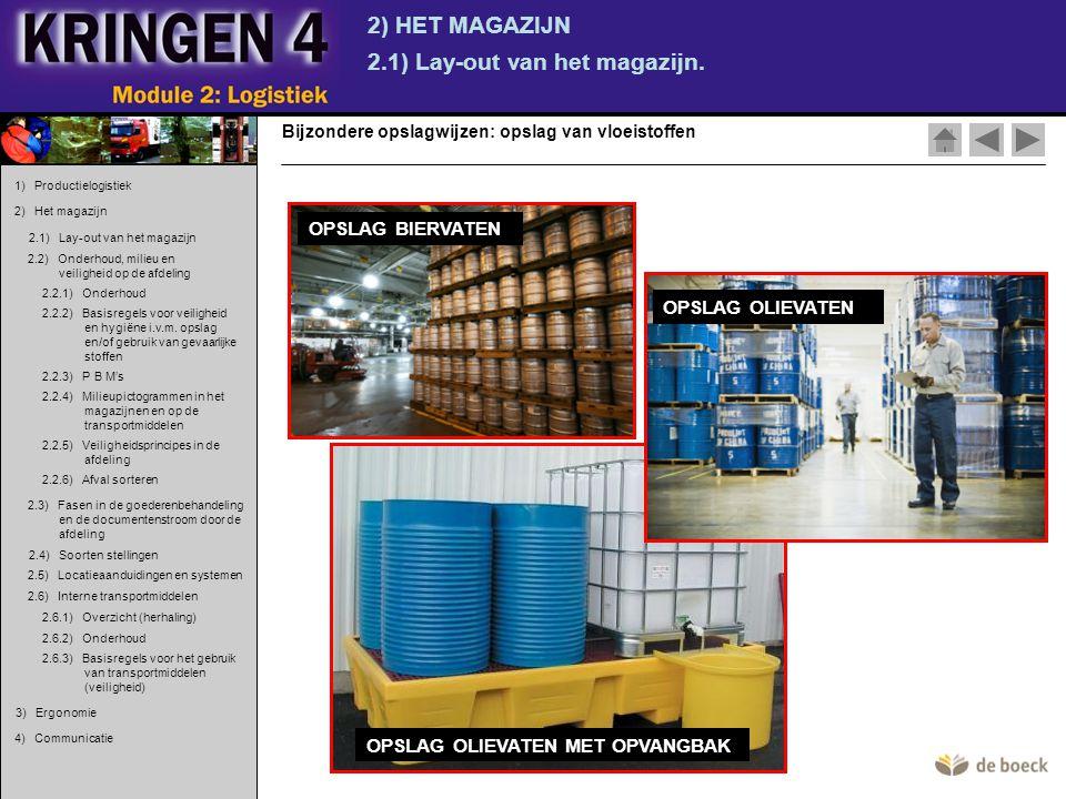 OPSLAG OLIEVATEN MET OPVANGBAK 2) HET MAGAZIJN 2.1) Lay-out van het magazijn. Bijzondere opslagwijzen: opslag van vloeistoffen 1) Productielogistiek 2