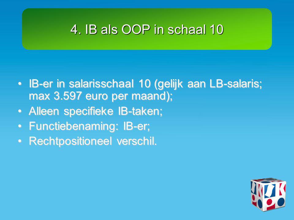 4. IB als OOP in schaal 10 •IB-er in salarisschaal 10 (gelijk aan LB-salaris; max 3.597 euro per maand); •Alleen specifieke IB-taken; •Functiebenaming