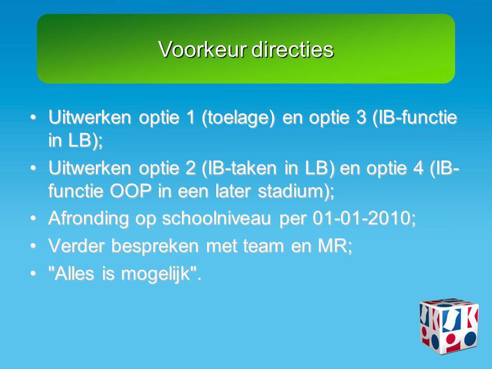 Voorkeur directies •Uitwerken optie 1 (toelage) en optie 3 (IB-functie in LB); •Uitwerken optie 2 (IB-taken in LB) en optie 4 (IB- functie OOP in een later stadium); •Afronding op schoolniveau per 01-01-2010; •Verder bespreken met team en MR; • Alles is mogelijk .