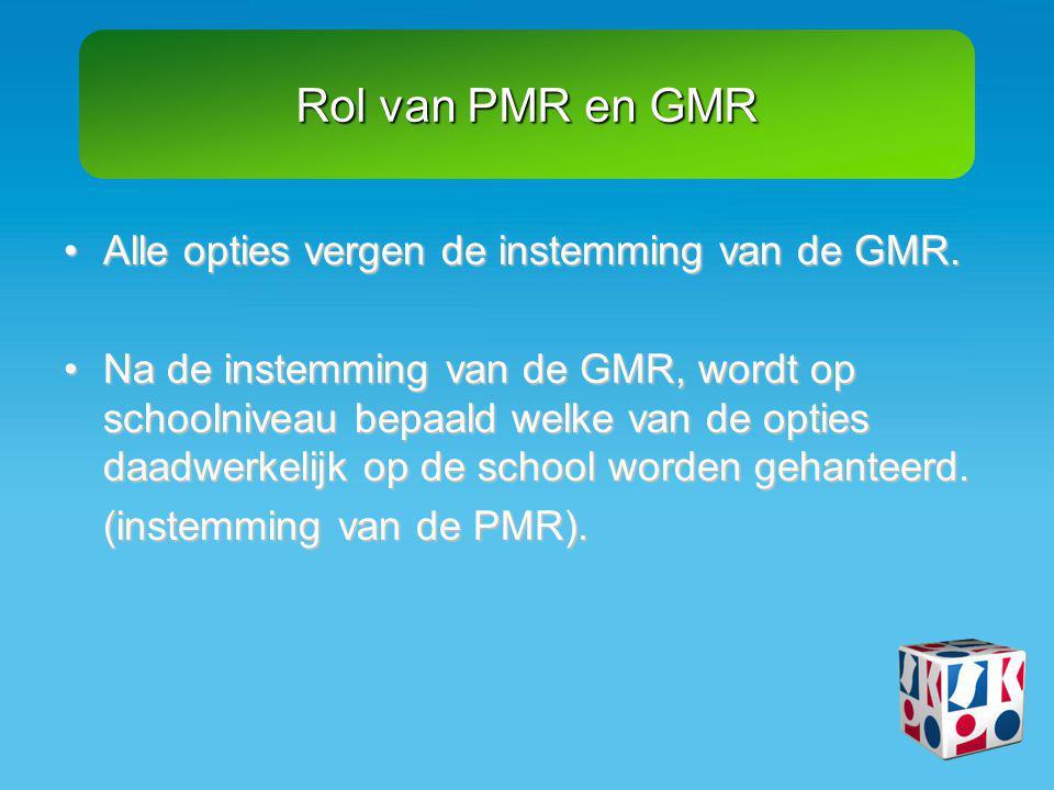 Rol van PMR en GMR •Alle opties vergen de instemming van de GMR. •Na de instemming van de GMR, wordt op schoolniveau bepaald welke van de opties daadw