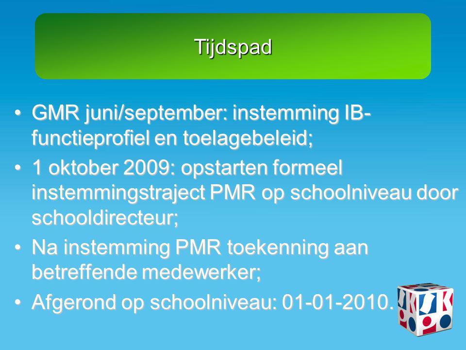 Tijdspad •GMR juni/september: instemming IB- functieprofiel en toelagebeleid; •1 oktober 2009: opstarten formeel instemmingstraject PMR op schoolnivea