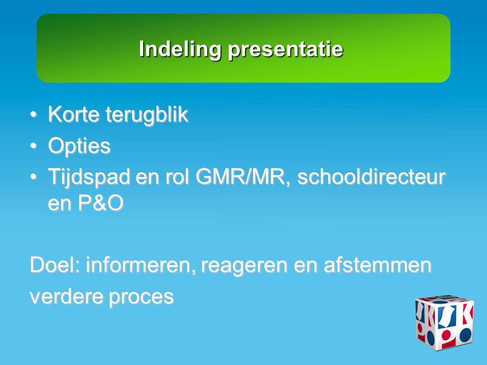 Indeling presentatie •Korte terugblik •Opties •Tijdspad en rol GMR/MR, schooldirecteur en P&O Doel: informeren, reageren en afstemmen verdere proces