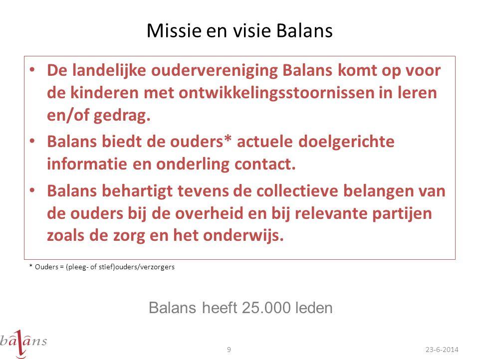 Missie en visie Balans • De landelijke oudervereniging Balans komt op voor de kinderen met ontwikkelingsstoornissen in leren en/of gedrag. • Balans bi