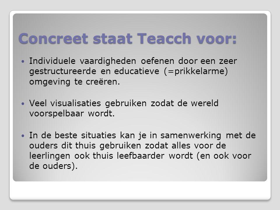 Concreet staat Teacch voor:  Individuele vaardigheden oefenen door een zeer gestructureerde en educatieve (=prikkelarme) omgeving te creëren.