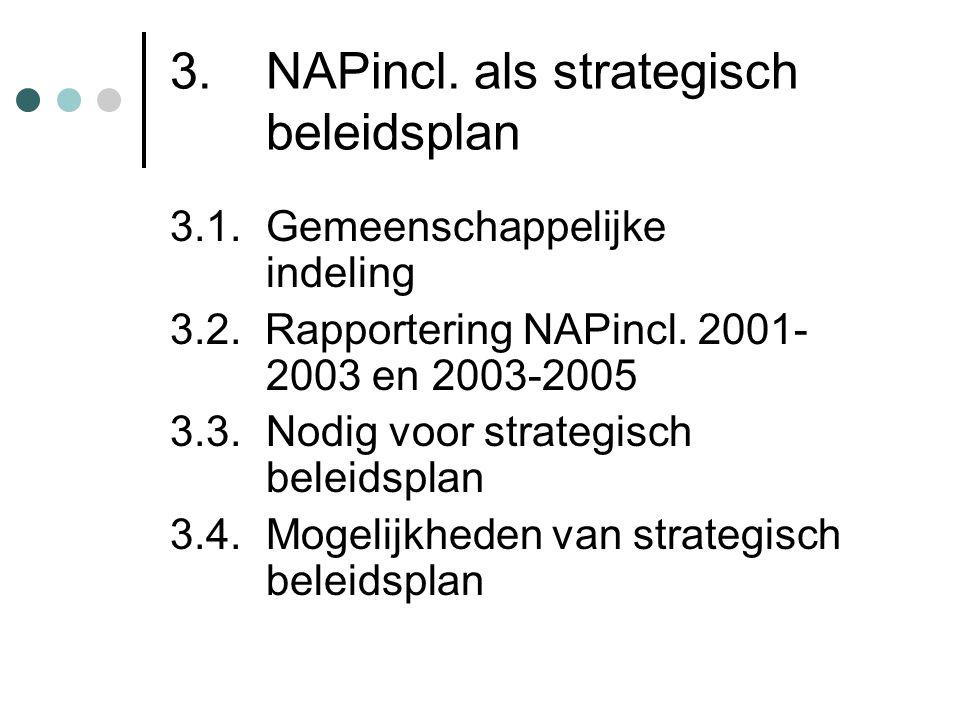 3. NAPincl. als strategisch beleidsplan 3.1. Gemeenschappelijke indeling 3.2. Rapportering NAPincl. 2001- 2003 en 2003-2005 3.3. Nodig voor strategisc