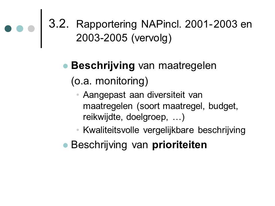 3.2. Rapportering NAPincl. 2001-2003 en 2003-2005 (vervolg)  Beschrijving van maatregelen (o.a. monitoring) •Aangepast aan diversiteit van maatregele