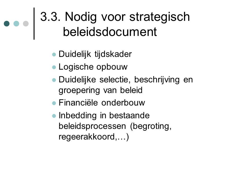 3.3. Nodig voor strategisch beleidsdocument  Duidelijk tijdskader  Logische opbouw  Duidelijke selectie, beschrijving en groepering van beleid  Fi