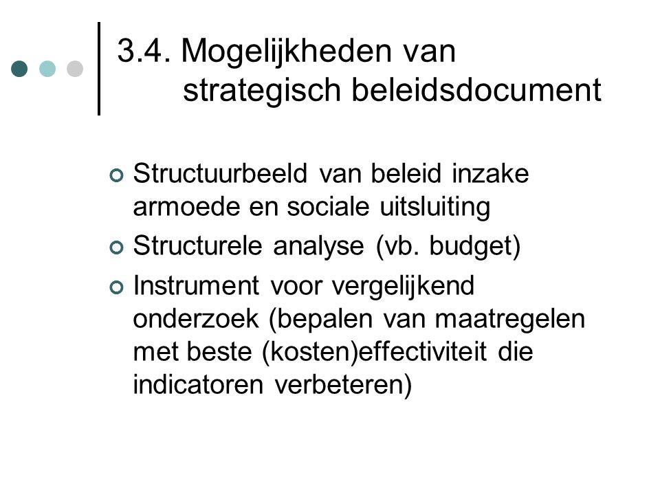 3.4. Mogelijkheden van strategisch beleidsdocument Structuurbeeld van beleid inzake armoede en sociale uitsluiting Structurele analyse (vb. budget) In