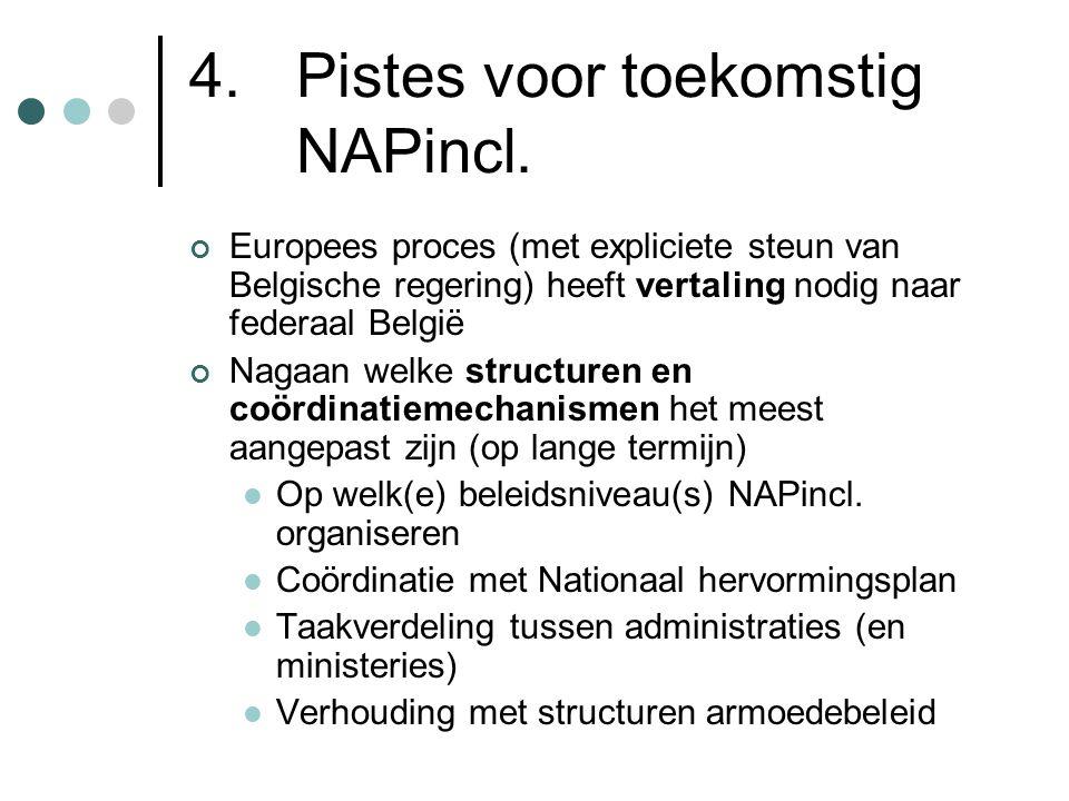 4. Pistes voor toekomstig NAPincl. Europees proces (met expliciete steun van Belgische regering) heeft vertaling nodig naar federaal België Nagaan wel