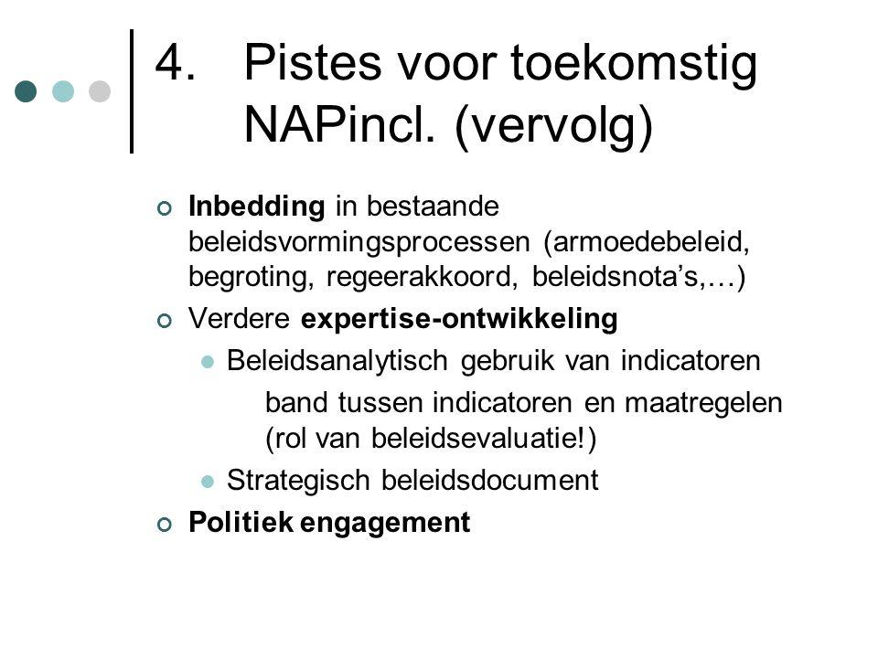 4. Pistes voor toekomstig NAPincl. (vervolg) Inbedding in bestaande beleidsvormingsprocessen (armoedebeleid, begroting, regeerakkoord, beleidsnota's,…