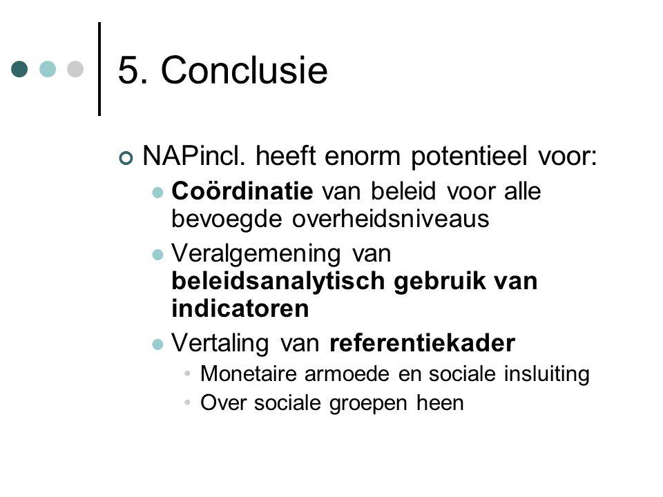 5. Conclusie NAPincl. heeft enorm potentieel voor:  Coördinatie van beleid voor alle bevoegde overheidsniveaus  Veralgemening van beleidsanalytisch