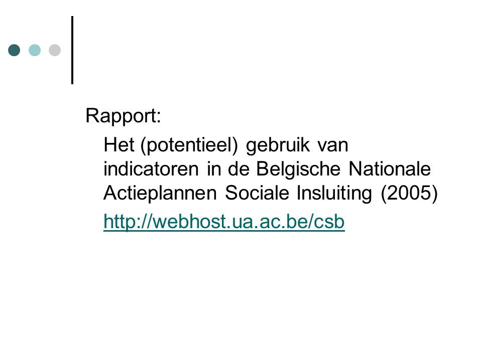 Rapport: Het (potentieel) gebruik van indicatoren in de Belgische Nationale Actieplannen Sociale Insluiting (2005) http://webhost.ua.ac.be/csb