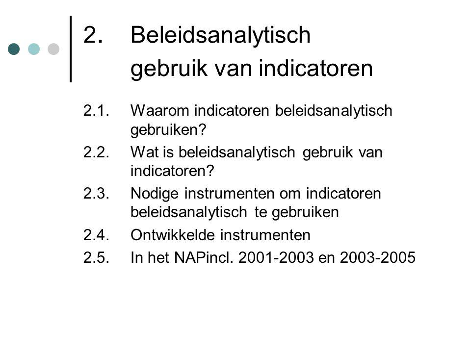 2. Beleidsanalytisch gebruik van indicatoren 2.1. Waarom indicatoren beleidsanalytisch gebruiken? 2.2. Wat is beleidsanalytisch gebruik van indicatore