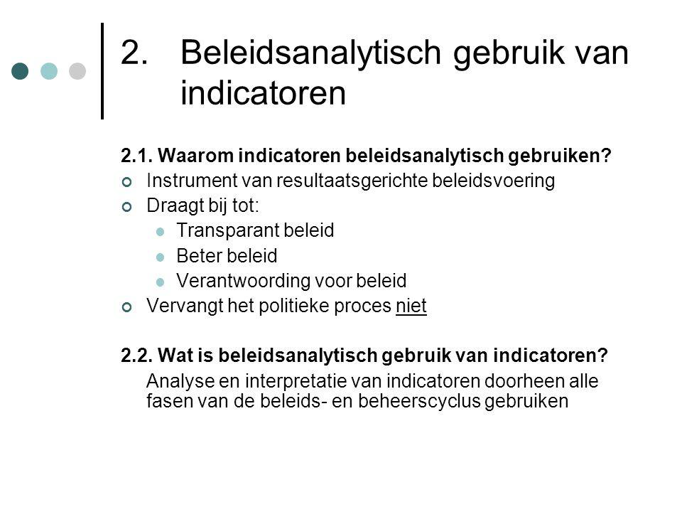 2. Beleidsanalytisch gebruik van indicatoren 2.1. Waarom indicatoren beleidsanalytisch gebruiken? Instrument van resultaatsgerichte beleidsvoering Dra