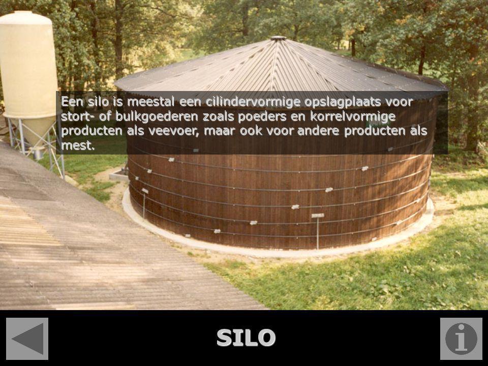 Een silo is meestal een cilindervormige opslagplaats voor stort- of bulkgoederen zoals poeders en korrelvormige producten als veevoer, maar ook voor a