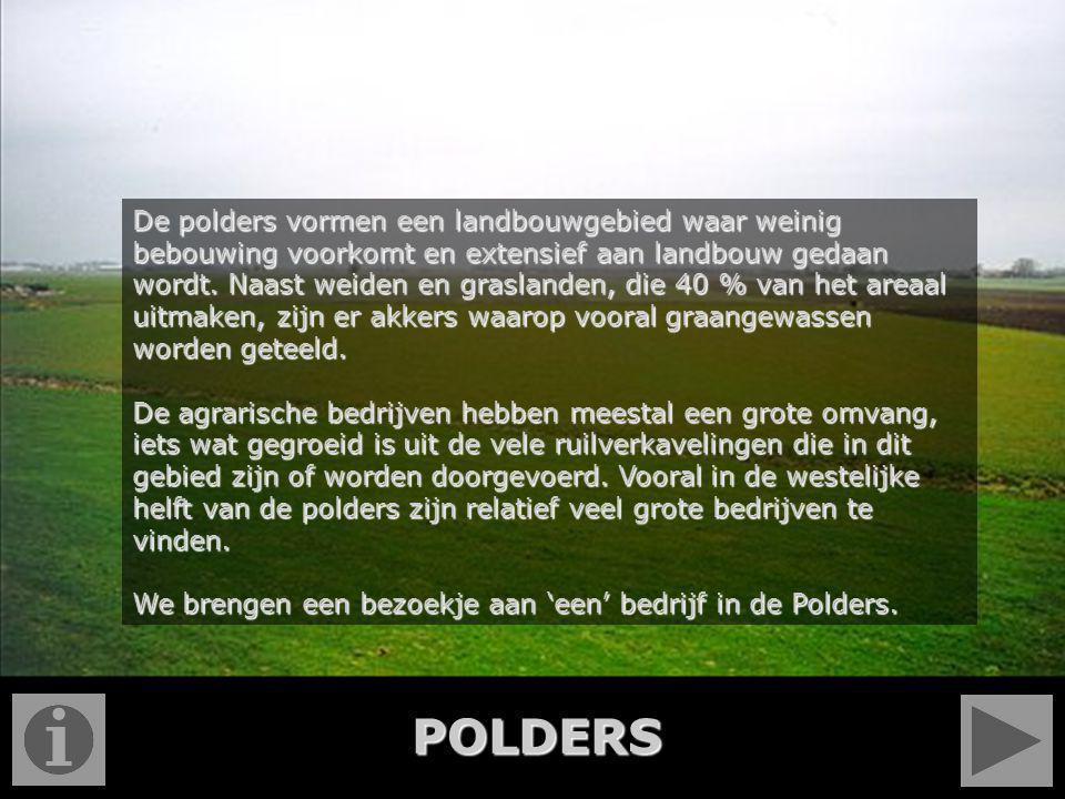 De polders vormen een landbouwgebied waar weinig bebouwing voorkomt en extensief aan landbouw gedaan wordt. Naast weiden en graslanden, die 40 % van h