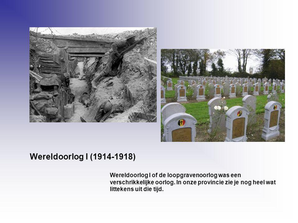 Wereldoorlog I (1914-1918) Wereldoorlog I of de loopgravenoorlog was een verschrikkelijke oorlog. In onze provincie zie je nog heel wat littekens uit