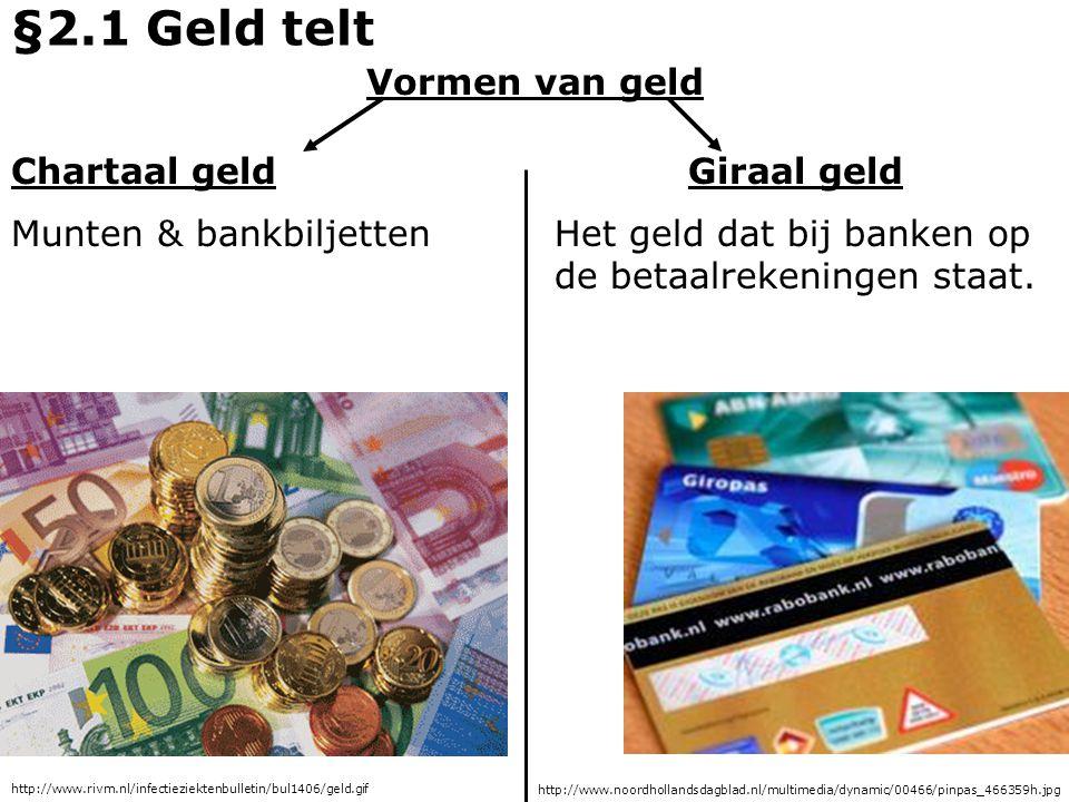 Vormen van geld Chartaal geld Munten & bankbiljetten Giraal geld Het geld dat bij banken op de betaalrekeningen staat. §2.1 Geld telt http://www.rivm.