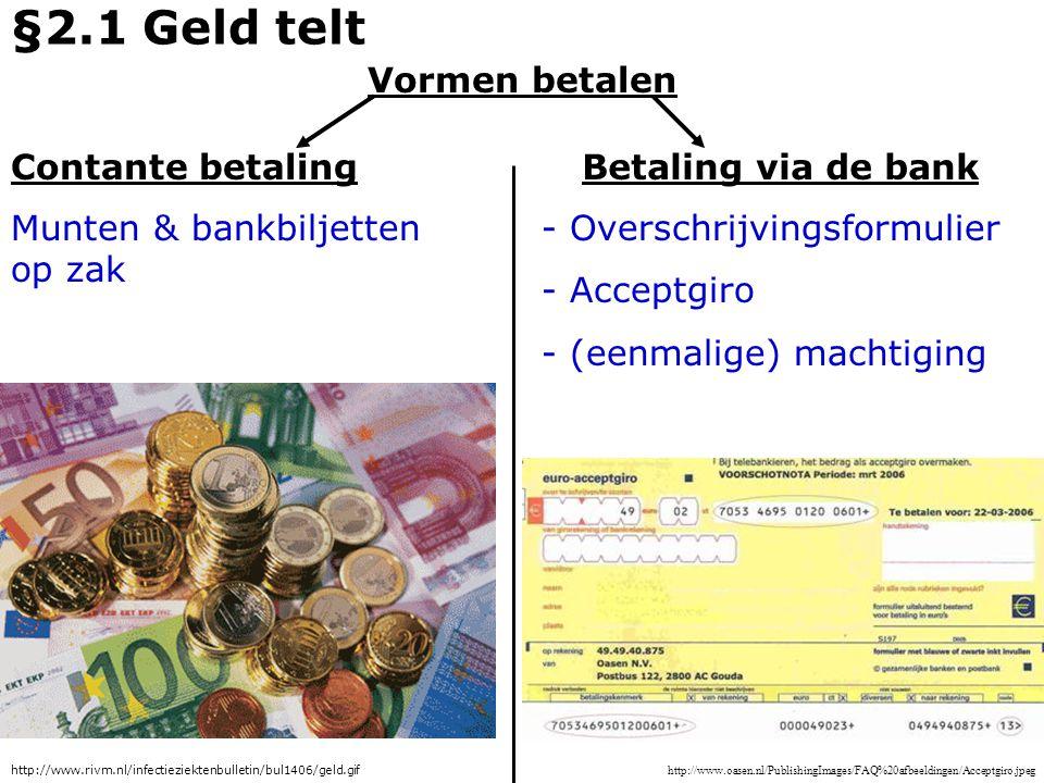 Geld wordt gebruikt als: - Ruilmiddel - Spaarmiddel - Rekenmiddel §2.1 Geld telt http://www.bufin.nl/images/sparen_image5.jpg http://www.extra-bijverdienen.nl/geld-hand.jpg