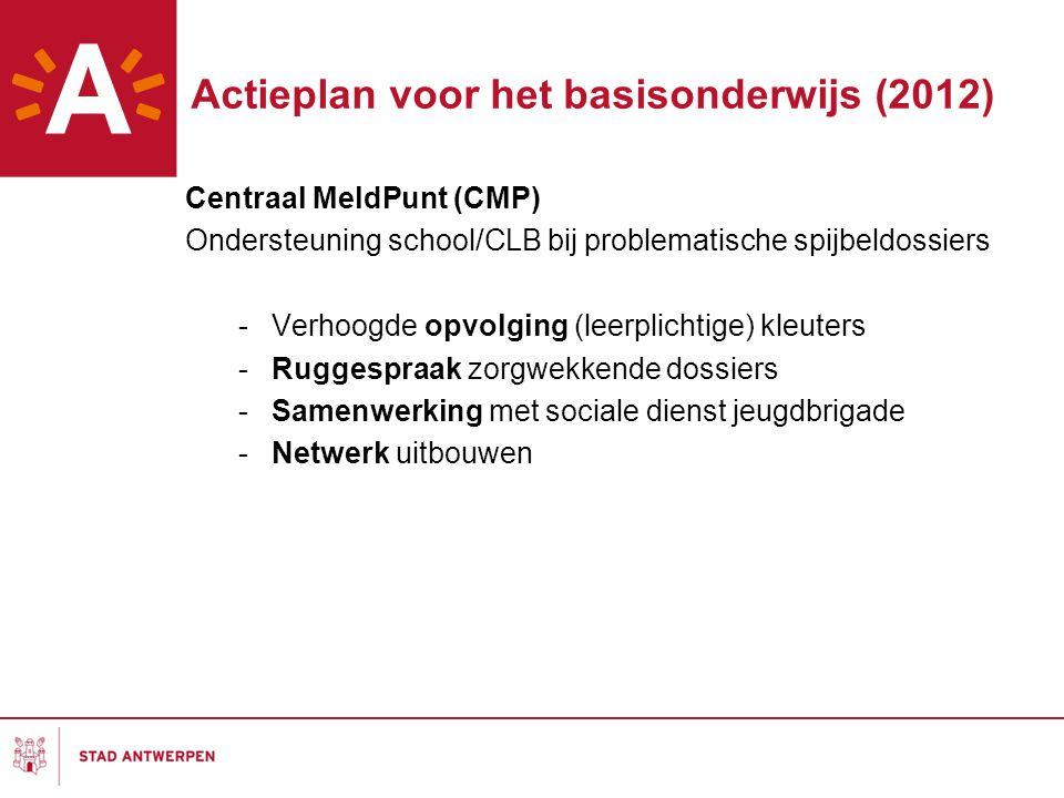 Actieplan voor het basisonderwijs (2012) Centraal MeldPunt (CMP) Ondersteuning school/CLB bij problematische spijbeldossiers -Verhoogde opvolging (lee