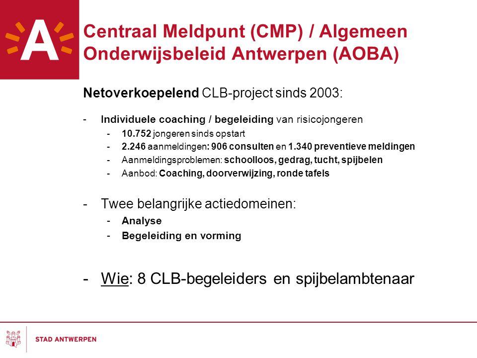Centraal Meldpunt (CMP) / Algemeen Onderwijsbeleid Antwerpen (AOBA) Netoverkoepelend CLB-project sinds 2003: -Individuele coaching / begeleiding van risicojongeren -10.752 jongeren sinds opstart -2.246 aanmeldingen: 906 consulten en 1.340 preventieve meldingen -Aanmeldingsproblemen: schoolloos, gedrag, tucht, spijbelen -Aanbod: Coaching, doorverwijzing, ronde tafels -Twee belangrijke actiedomeinen: -Analyse -Begeleiding en vorming -Wie: 8 CLB-begeleiders en spijbelambtenaar
