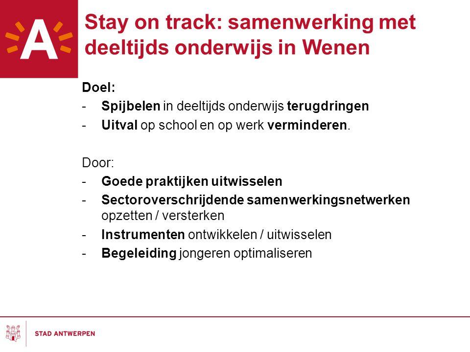 Stay on track: samenwerking met deeltijds onderwijs in Wenen Doel: -Spijbelen in deeltijds onderwijs terugdringen -Uitval op school en op werk verminderen.