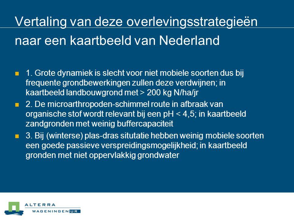 Vertaling van deze overlevingsstrategieën naar een kaartbeeld van Nederland  1. Grote dynamiek is slecht voor niet mobiele soorten dus bij frequente
