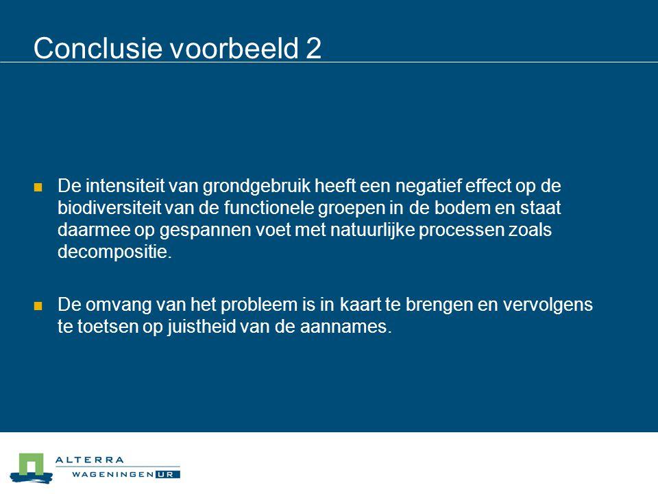 Conclusie voorbeeld 2  De intensiteit van grondgebruik heeft een negatief effect op de biodiversiteit van de functionele groepen in de bodem en staat