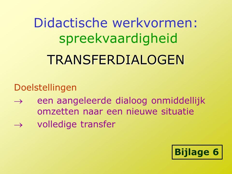 Didactische werkvormen: spreekvaardigheid TRANSFERDIALOGEN Doelstellingen een aangeleerde dialoog onmiddellijk omzetten naar een nieuwe situatie vol