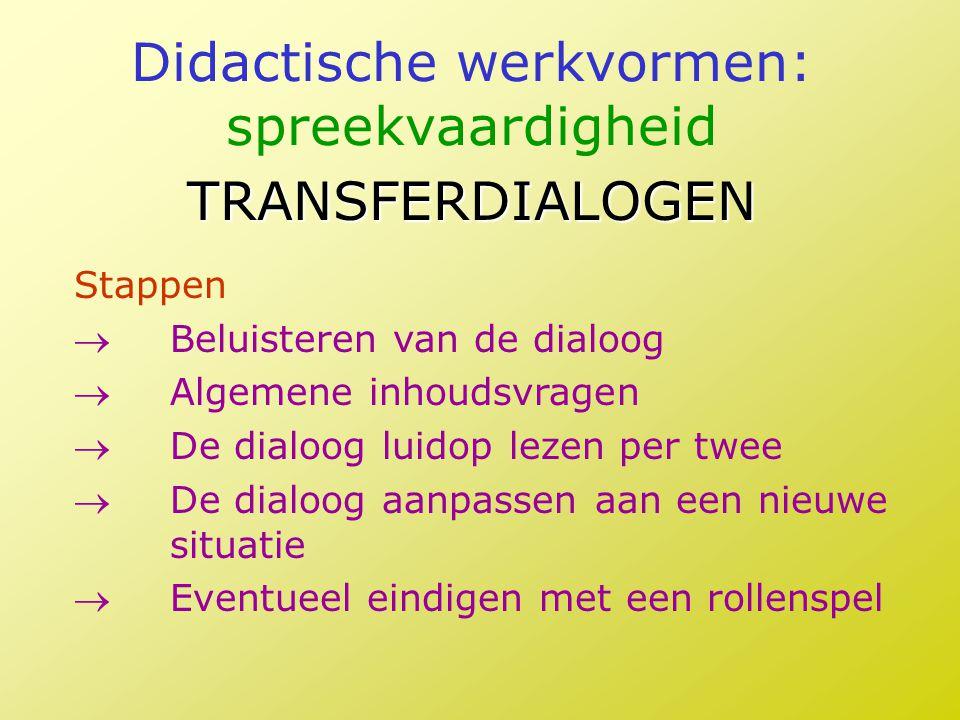 Didactische werkvormen: spreekvaardigheid TRANSFERDIALOGEN Stappen Beluisteren van de dialoog Algemene inhoudsvragen De dialoog luidop lezen per tw