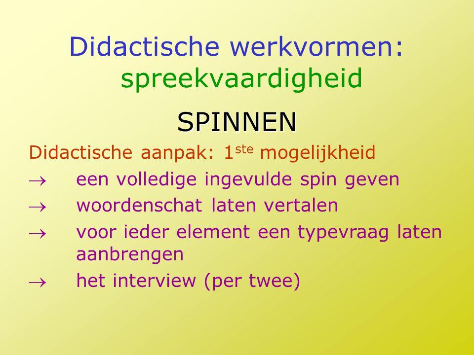 Didactische werkvormen: spreekvaardigheid SPINNEN Didactische aanpak: 1 ste mogelijkheid een volledige ingevulde spin geven woordenschat laten verta
