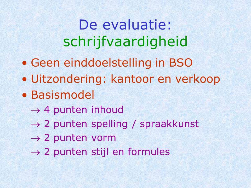 De evaluatie: schrijfvaardigheid •Geen einddoelstelling in BSO •Uitzondering: kantoor en verkoop •Basismodel  4 punten inhoud  2 punten spelling / s
