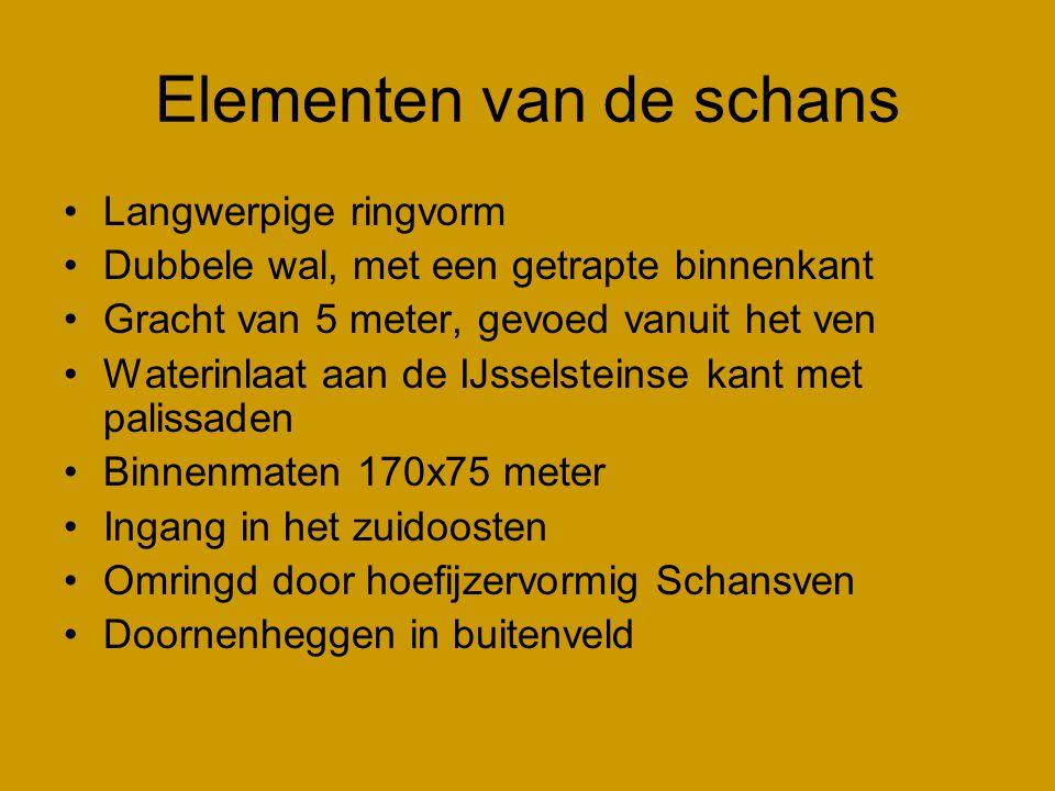 Elementen van de schans •Langwerpige ringvorm •Dubbele wal, met een getrapte binnenkant •Gracht van 5 meter, gevoed vanuit het ven •Waterinlaat aan de