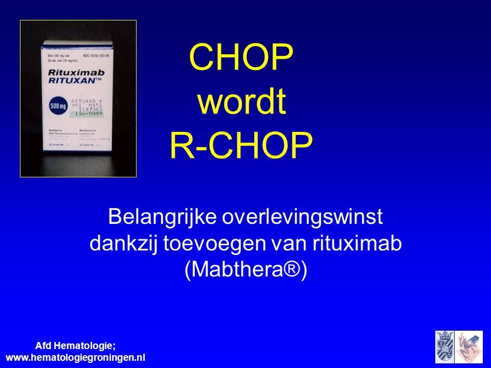 Afd Hematologie; www.hematologiegroningen.nl CHOP wordt R-CHOP Belangrijke overlevingswinst dankzij toevoegen van rituximab (Mabthera®)