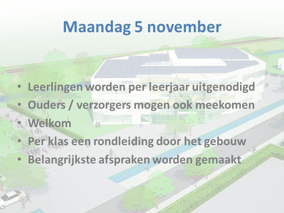 Maandag 5 november • Leerlingen worden per leerjaar uitgenodigd • Ouders / verzorgers mogen ook meekomen • Welkom • Per klas een rondleiding door het