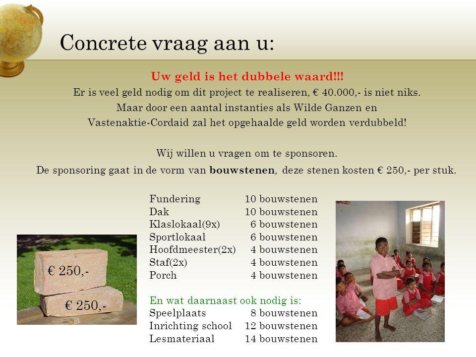 Concrete vraag aan u: Uw geld is het dubbele waard!!! Er is veel geld nodig om dit project te realiseren, € 40.000,- is niet niks. Maar door een aanta