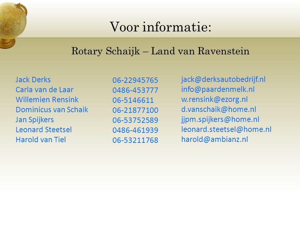 Voor informatie: Rotary Schaijk – Land van Ravenstein Jack Derks Carla van de Laar Willemien Rensink Dominicus van Schaik Jan Spijkers Leonard Steetse