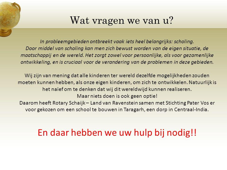 Voor informatie: Rotary Schaijk – Land van Ravenstein Jack Derks Carla van de Laar Willemien Rensink Dominicus van Schaik Jan Spijkers Leonard Steetsel Harold van Tiel 06-22945765 0486-453777 06-5146611 06-21877100 06-53752589 0486-461939 06-53211768 jack@derksautobedrijf.nl info@paardenmelk.nl w.rensink@ezorg.nl d.vanschaik@home.nl jjpm.spijkers@home.nl leonard.steetsel@home.nl harold@ambianz.nl