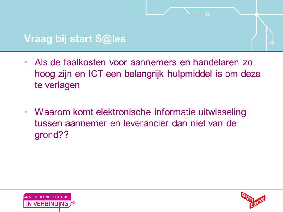 Vraag bij start S@les •Als de faalkosten voor aannemers en handelaren zo hoog zijn en ICT een belangrijk hulpmiddel is om deze te verlagen •Waarom kom