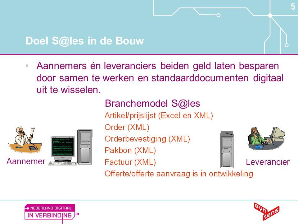 5 Doel S@les in de Bouw •Aannemers én leveranciers beiden geld laten besparen door samen te werken en standaarddocumenten digitaal uit te wisselen. Br