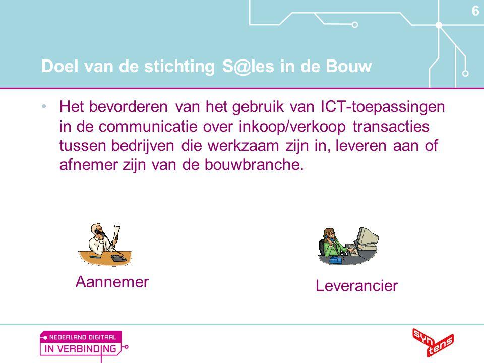 6 Doel van de stichting S@les in de Bouw •Het bevorderen van het gebruik van ICT-toepassingen in de communicatie over inkoop/verkoop transacties tusse