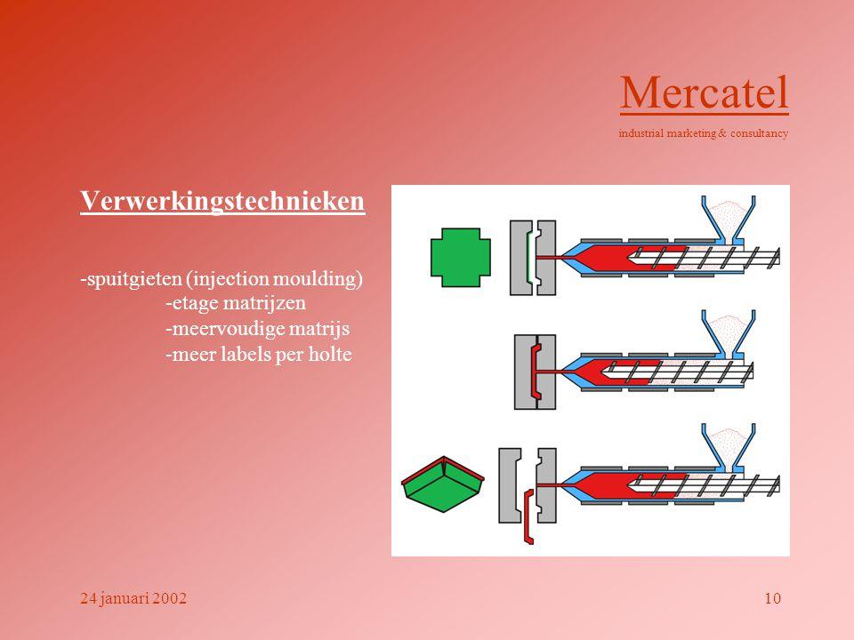 Verwerkingstechnieken -spuitgieten (injection moulding) Mercatel industrial marketing & consultancy 24 januari 200210 -etage matrijzen -meervoudige ma