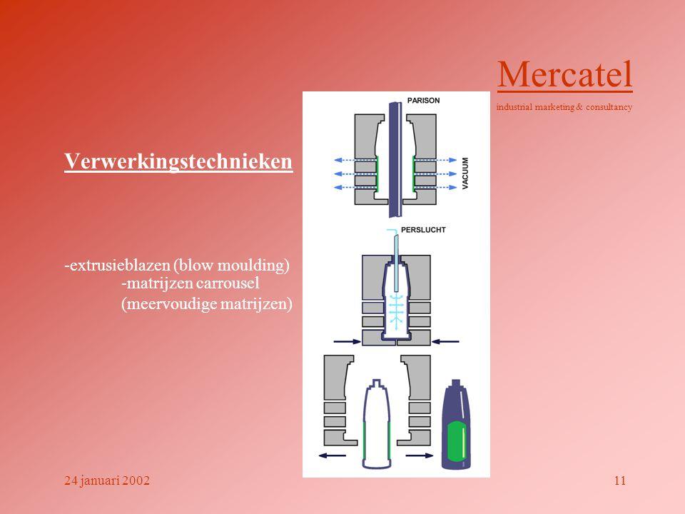 Verwerkingstechnieken -extrusieblazen (blow moulding) Mercatel industrial marketing & consultancy 24 januari 200211 -matrijzen carrousel (meervoudige matrijzen)