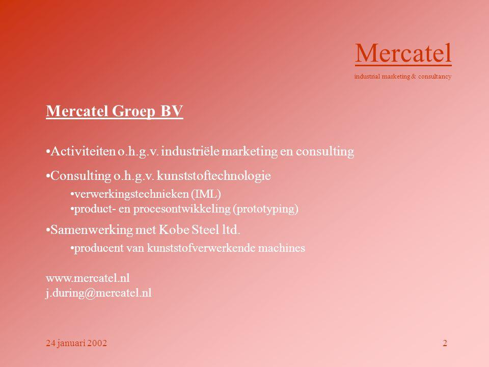 Opbouw presentatie • redenen • post-mould technieken • definitie IML • verwerkingsmethoden • voorbeelden • toepassingsgebieden • proces • hechting / krachtenspel • voordelen / nadelen • ontwikkelingen • samenvatting • verwijzingen Mercatel industrial marketing & consultancy 24 januari 20023