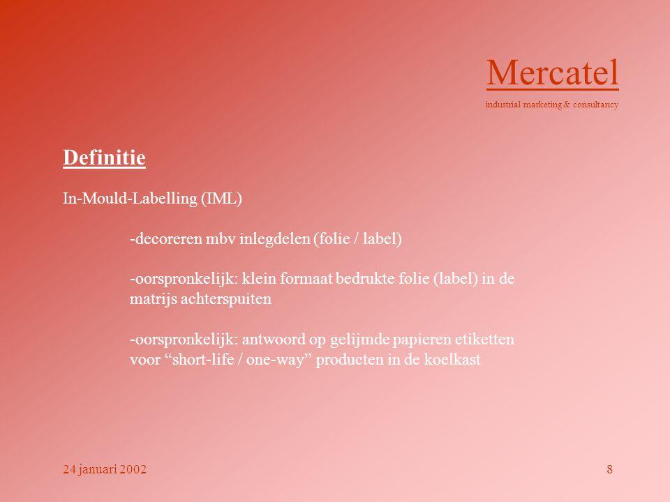 Definitie In-Mould-Labelling (IML) -decoreren mbv inlegdelen (folie / label) -oorspronkelijk: klein formaat bedrukte folie (label) in de matrijs achterspuiten -oorspronkelijk: antwoord op gelijmde papieren etiketten voor short-life / one-way producten in de koelkast Mercatel industrial marketing & consultancy 24 januari 20028