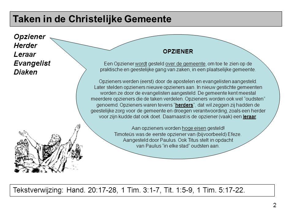 2 Opziener Herder Leraar Evangelist Diaken Taken in de Christelijke Gemeente Tekstverwijzing: Hand. 20:17-28, 1 Tim. 3:1-7, Tit. 1:5-9, 1 Tim. 5:17-22