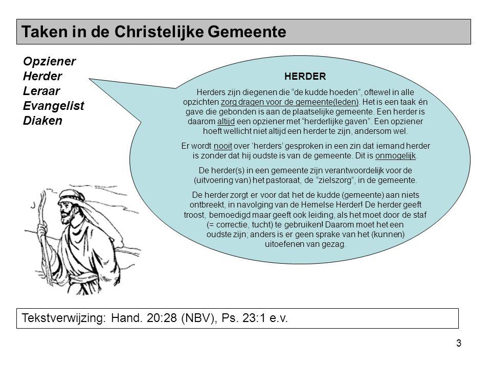 4 Opziener Herder Leraar Evangelist Diaken Tekstverwijzing: 2 Tim.