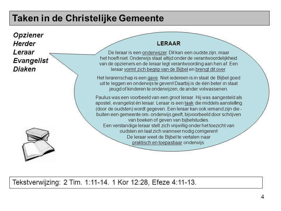 5 Opziener Herder Leraar Evangelist Diaken Tekstverwijzing: Hand.