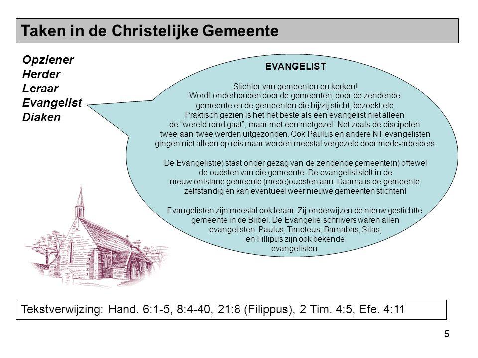 6 Opziener Herder Leraar Evangelist Diaken Tekstverwijzing: 1 Tim.